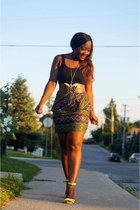 designofadiaspora skirt - dark green H&M bag - yellow milanoo sandals