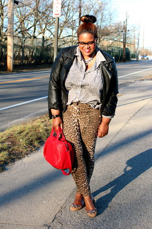 silver thrift shirt - burnt orange Lane Bryant jeans - black asos jacket