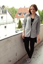 gray H&M blazer - black H&M dress - black H&M leggings - gray H&M shoes