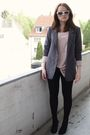 Beige-h-m-top-black-h-m-leggings-black-bronx-shoes-gray-h-m-blazer