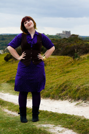 deep purple T2 vintage dress - navy Kickers boots - dark khaki H&M coat