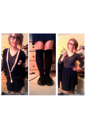 black flats - grey sweater - knee high black socks - black skirt