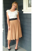off white silk Aritzia blouse - bronze pleated H&M skirt - black suede Aldo heel