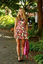 hot pink floral beginning boutique dress