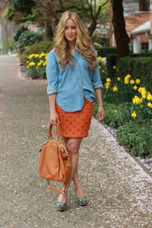 orange print Anthopologie skirt - tawny madison lindsey coach bag