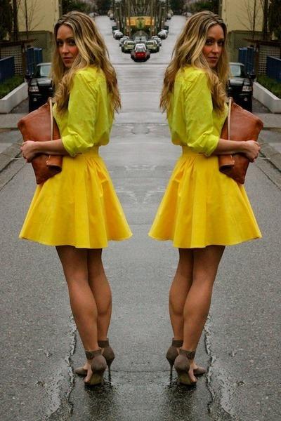 yellow button up Gap shirt - tawny clutch American Apparel bag