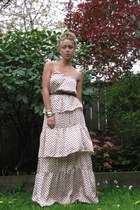 off white tiered H&M dress - dark brown leather Zara belt - bracelet