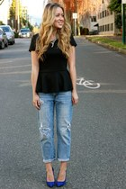black peplum StyleMint shirt