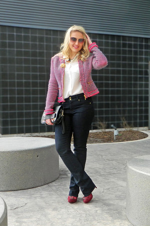 Paige Denim jeans - bubble gum Zara jacket - black asos bag