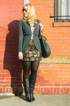 black Bebe skirt - black Steve Madden boots - dark green Marc by Marc Jacobs bag