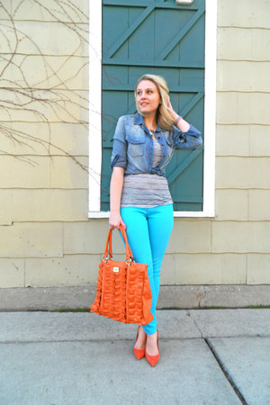 JCrew top - teal madewell jeans - chambray pitaya shirt - orange Jenna Kator bag