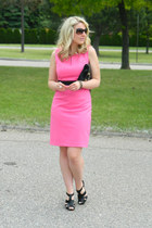 hot pink calvin klein dress - black asos bag - Nine West sunglasses