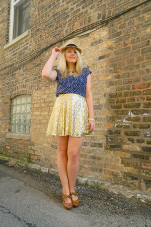 Forever 21 hat - asos blouse - restricted wedges - asos skirt