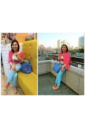 blue goyard bag - aquamarine H&M jeans - hot pink H&M blazer