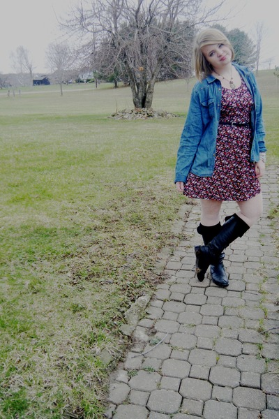 black tall unknown boots - red floral Forever 21 dress - navy jean Walmart jacke