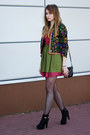 Black-dressvenus-boots-green-romwecom-blazer