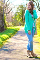 teal American Eagle cardigan - combat Cathy Jean boots