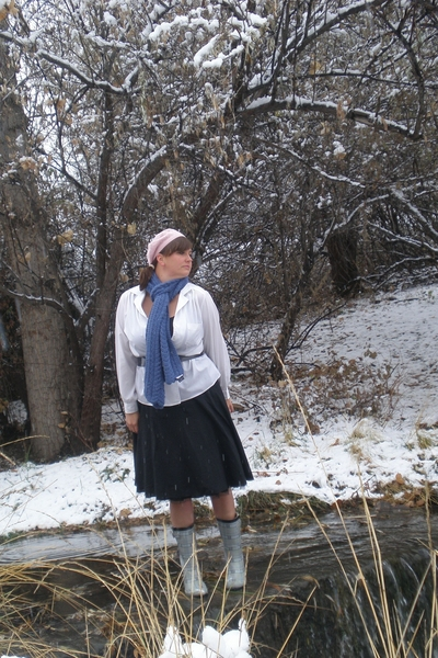 Anthropologie skirt - moms vintage blouse - Alpaca Wool scarf - Wellies from Tar