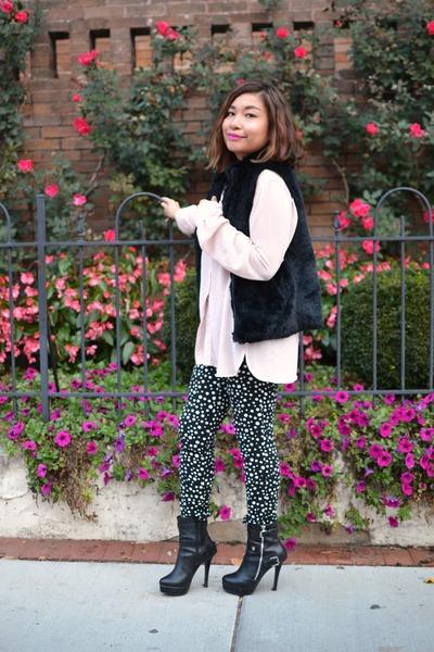 black leather boots - light pink silk TJ Maxx blouse