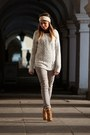 Tawny-wojas-boots-periwinkle-h-m-sweater-silver-h-m-pants
