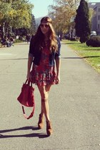 Aldo shoes - denny rose dress - Tommy Hilfiger jacket - balenciaga bag