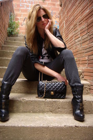 black Chanel lambskin 255 bag - black Jeffrey Campbell boots
