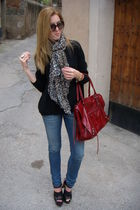 black Zara shoes - balenciaga accessories - H&M scarf