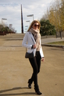 White-topshop-blazer-beige-zara-scarf-black-zara-shoes-black-bershka-purse