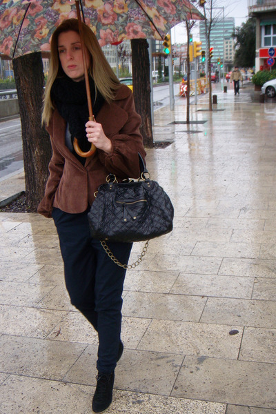 brown vintage jacket - Zara pants - black Marc Jacobs accessories