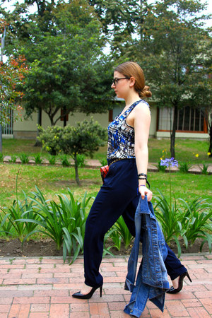 blue ragged shirt - navy Mango pants - black Mango heels