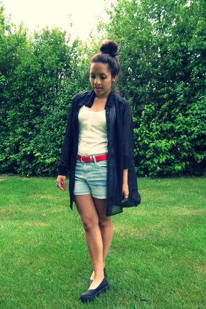 ivory H&M top - black Cheap Monday shirt - sky blue Secondhand shorts