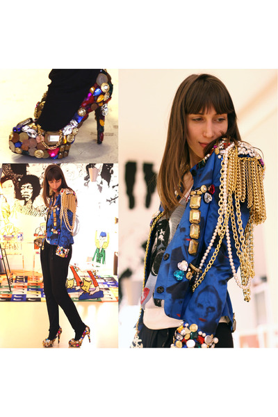 gold JC de Castelbajac shoes - blue JC de Castelbajac blazer - black Shyde pants