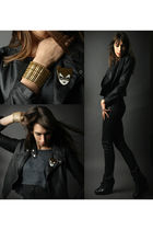 black IRO jacket - black H&M jeans - gray American Apparel top - gold Philippe A