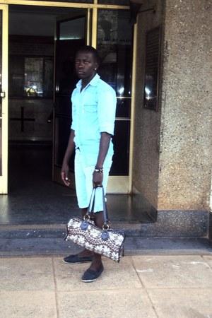 brown doughle bag bag - sky blue dennim shirt jeans - aquamarine dennim shorts