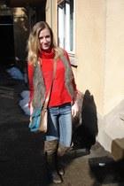 random sweater - red lips boots - next jeans - Bershka bag - Pimkie vest