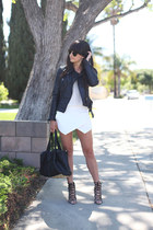 black leather jacket - white skort skirt - light brown leopard pumps