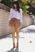 black necklace - white sweater - light brown shorts - tan strappy heels