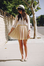 Off-white-hat-beige-skirt-white-blouse-tan-snakeskin-flats