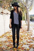 black ankle strap boots - gray jeans - black cardigan