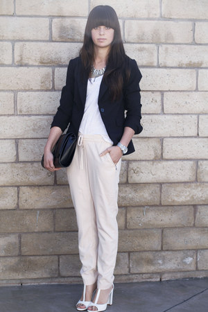 white heels - black blazer - light pink pants