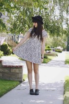 teal floral Mink Pink dress - black Jeffrey Campbell shoes - black bowler hat