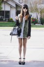 White-dress-olive-green-leather-sleeves-jacket-black-heels