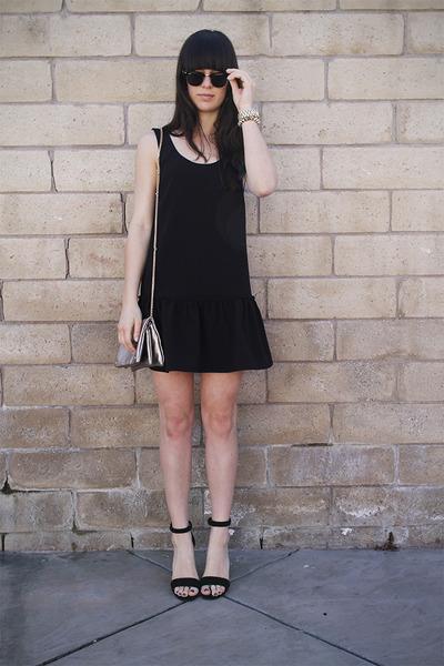 black drop waist dress - silver bag - black heels