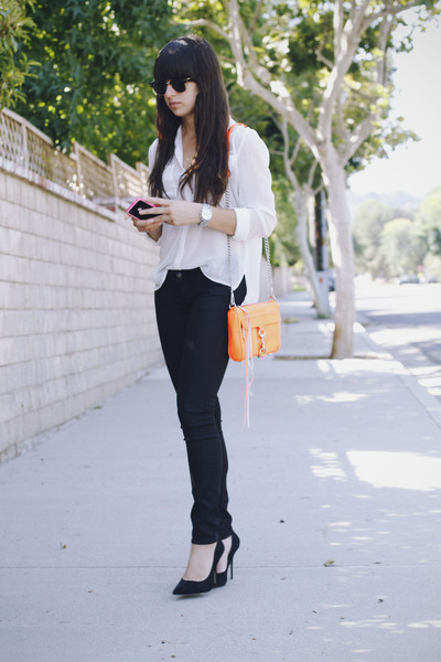 orange Rebecca Minkoff bag - black H&M jeans