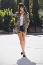 black leather shorts - army green camouflage jacket - black pumps