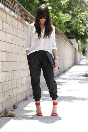 black leather Urban Outfitters pants - black clutch bag - red Zara heels