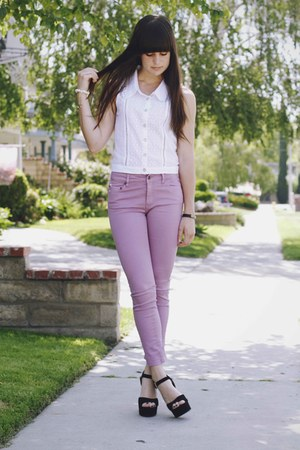 light purple Insight pants - white lace top - black heels