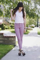 light purple Insight pants - white lace top - black heels