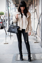 camel jacket - white sweater - black coated pants