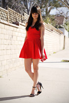 red dress - black heels
